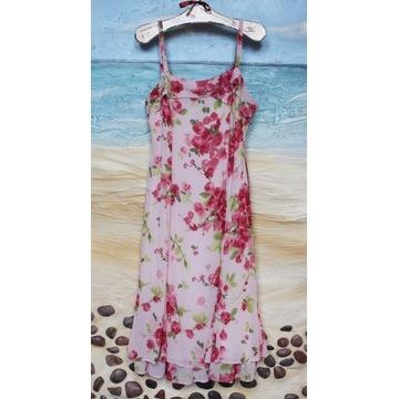 Śliczna Sukienka Minuet_Pudrowy Róż w Kwiaty 42/44