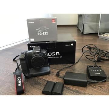 Canon EOS R z adapterem + Canon BG-E22 + 4 baterie
