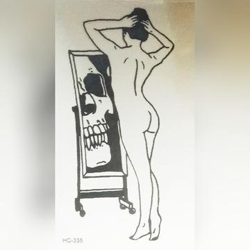 Tatuaż tymczasowy naga kobieta czaszka lustro