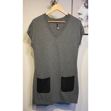 Sweter kamizelka Risse S/36 tunika z wełną jakość