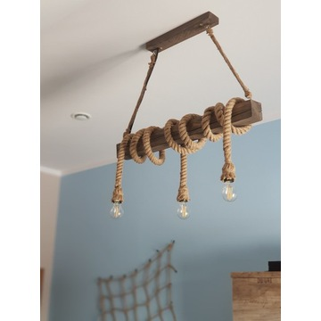 Lampa wisząca, belka drewniana rustyk, lina jutowa