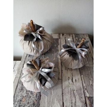 Zestaw szare dynie ozdoba handmade na jesień