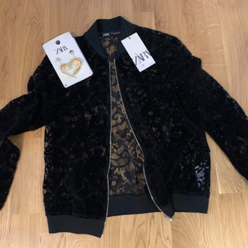Bolerko Zara, ażurowe, czarne, bomberka