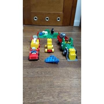 Traktor LEGO Duplo, ludziki, zwierzęta, samochód z