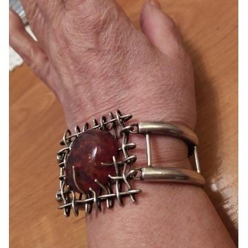Ogromna srebrna bransoletka z bursztynem 60,24 g