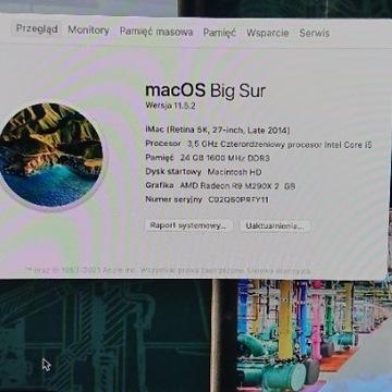 APPLE Mac 27` i5, 24GB, Grafika 2 GB