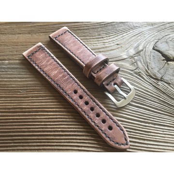 Pasek do zegarka handmade vintage skórzany 22 mm