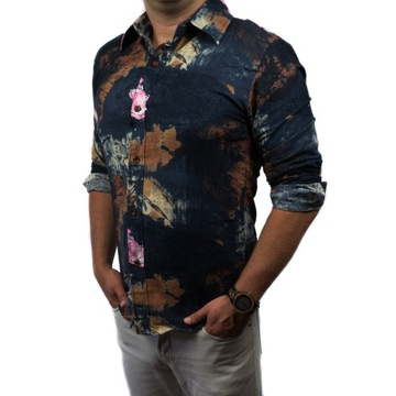 Przewiewna koszula męska SLIM FIT kwiaty M VINTAGE