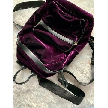 Plecak aksamitny ciemny fiolet New Look
