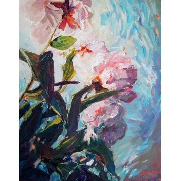 Obraz z kwiatami, pejzaż z kwiatami, obraz piwonie