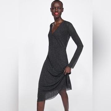 ZARA Sukienka z siateczki ze srebrzystą nitką L
