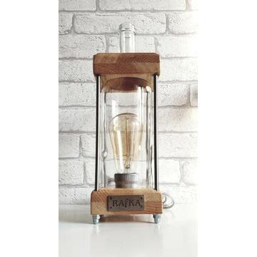 Lampka lampa handmade drewno