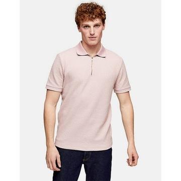 Topman koszulka polo o waflowym splocie M różowa