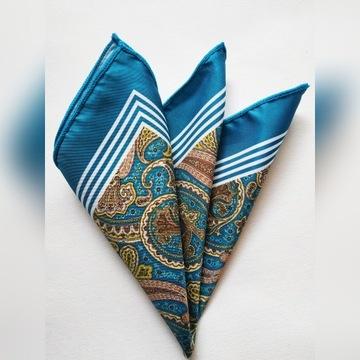 Turkusowa poszetka w piękny orientalny wzór