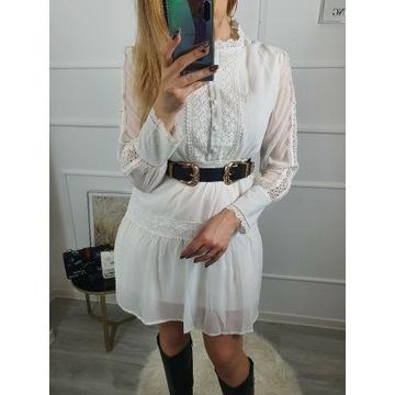 Biała sukienka boho ażur rozkloszowana koronka