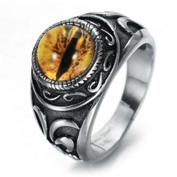 Retro smok pazur oko Saurona pierścień r.8