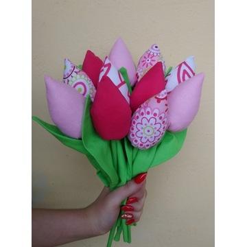 Bukiet, tulipany z materiału, kwiaty na prezent