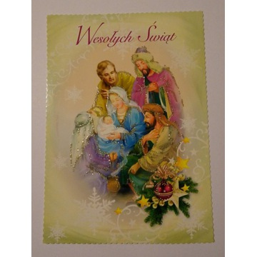 Kartka Boże Narodzenie brokat Św Rodzina królowie