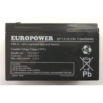 Akumulator EUROPOWER 7,2 Ah / 20 HR 12 V VRLA UPS