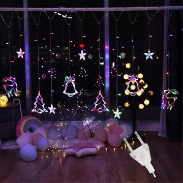 RENIFERKI ŚWIĘTA KURTYNA lampki LED 2,5m GIRLANDA