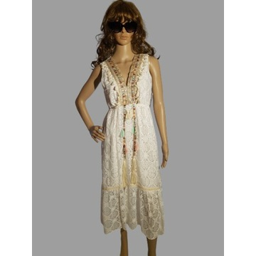 Sukienka koronkowa/boho/ręcznie zdobiona