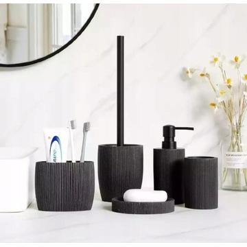 Akcesoria łazienkowe zestaw 5szt. czarny kamienny