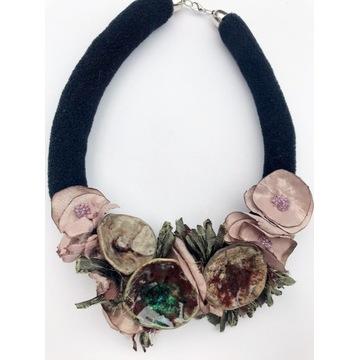 Naszyjnik z ceramiką rękodzieło naszyjnik handmade