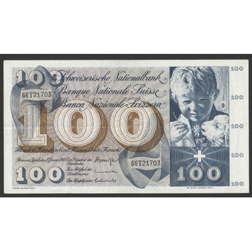 Szwajcaria 100 franków 1969 - seria 66T