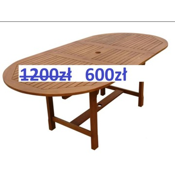 50% Nowy rozkładany stół ogrodowy z drewna akacjow