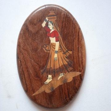 Stary Panel Obraz Drewno Kość?  Indie Tajlandia