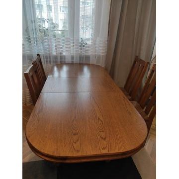 Stół drewniany w kolorze dąb + 4 krzesła