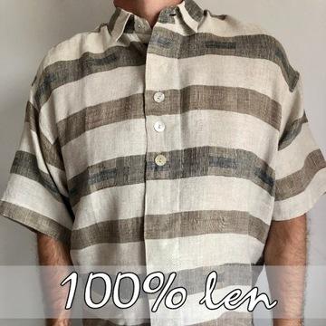 Koszula lniana rozmiar L - 100% LEN