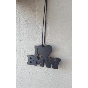 Zawieszka I LOVE BMW, sklejka 3mm, sznurek, serce