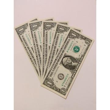 5 x banknot 1 dolar USD - nowe stan idealny