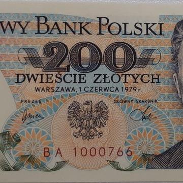 Banknot 200zł 1979 r. seria BA UNC