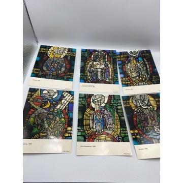 Zestaw sześciu pocztówek z witrażami