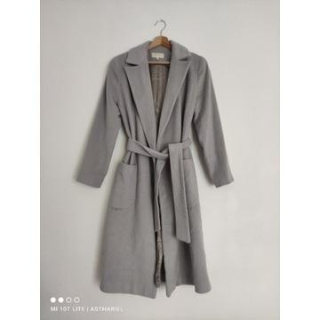 Wełniany szlafrokowy płaszcz szary M wełna angora