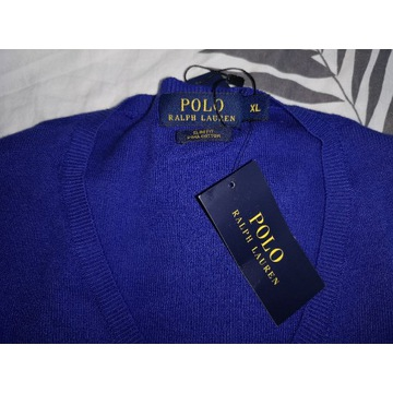 SWETER RALPH LAUREN SLIM FIT CHABROWY V-NECK