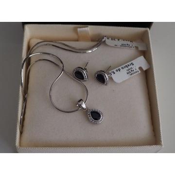 KOMPLET:srebrny naszyjnik z szafirem+kolczyki NOWY