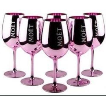Oryginalne szklane kieliszki Moet Chandon różowe