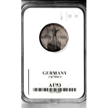 Trzecia Rzesza 2 marki, 1934 D   AU53
