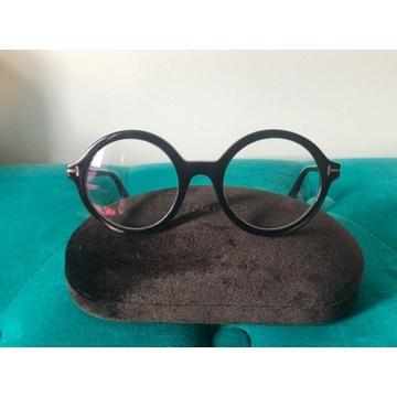 Okrągłe czarne okulary oprawki Tom Ford