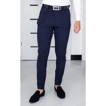 Spodnie Zara W30 (S - 38) Granatowe Slim 24O059