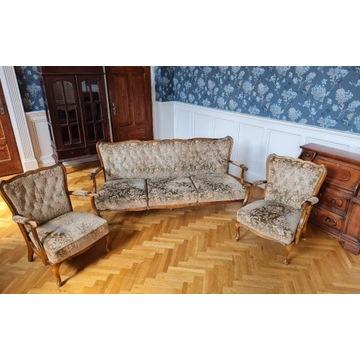 Zestaw kanapa fotele stylizowany ludwik gięte nogi