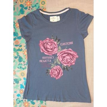 Szafirowa koszulka z różami H&M