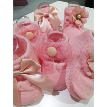 Skarpetki dla niemowląt z kokardką różowe 3 pary