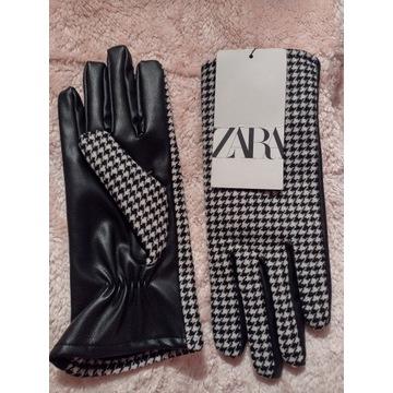 ZARA/Ekskluzywne rękawiczki biznesowe/pepitka/NOWE