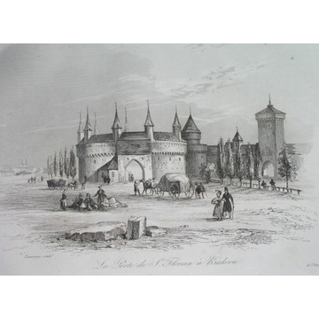 1836 ORYGINAŁ KRAKÓW MAŁOPOLSKA GALICJA barbakan