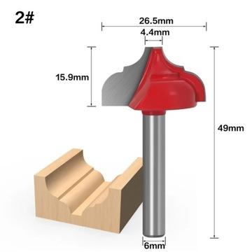 Frez kształtowy do drewna rowków itp 6x26,5x15,9mm