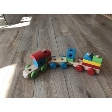 Drewniane klocki pociąg